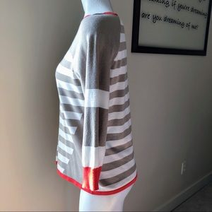 Cable & Gauge Sweaters - Orange, Cream & Tan Career Sweater - Medium